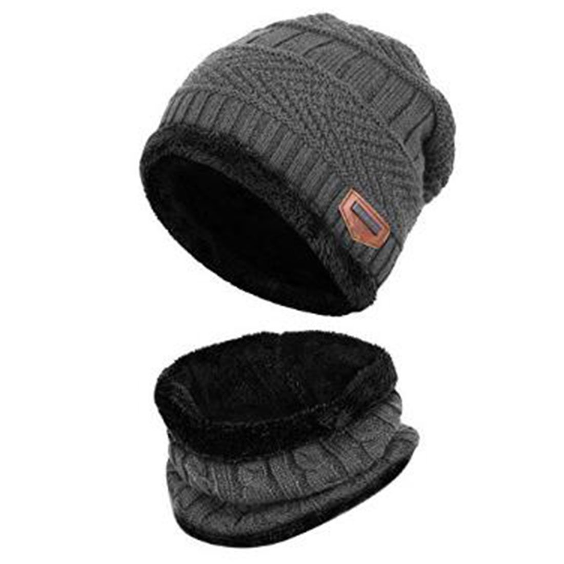 2Pieces Kids Knitted Winter Hat and Scarf Set For Boy Girls, Beanie Skull Cap Beanie Skull Cap (Black)