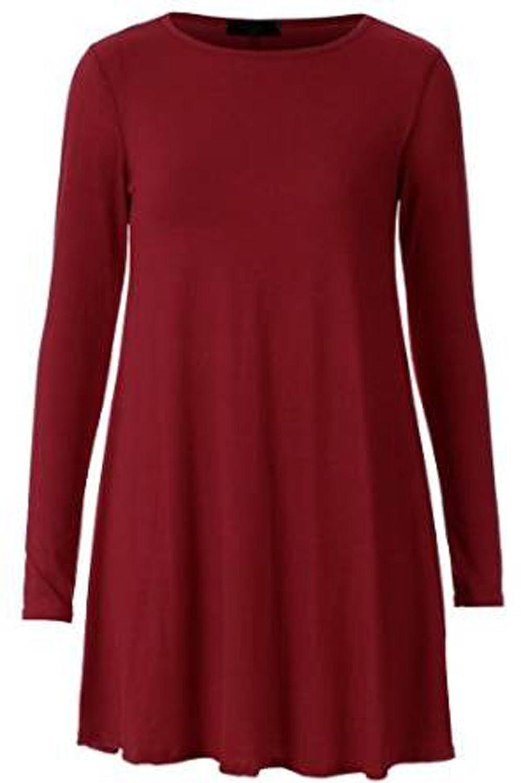 FashionMark Womens Long Sleeves Plus Size Swing Dress Ladies Plain Jersey Hanky