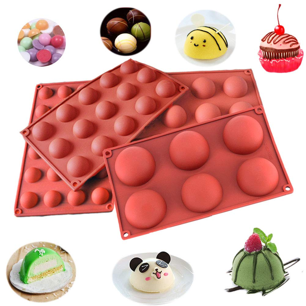 Semicircle Silicone Mold,Shxmlf Half Sphere Chocolate, Candy and Gummy Mold Teacake Bakeware Set for Cake Decoration Mousse Dome Jelly Ice Cream Bombe Cupcake Baking Mold, Assorted Size,Set of 4 by shxmlf (Image #6)