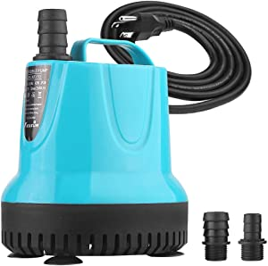 KEDSUM 930GPH Submersible water Pump(3500L/H, 92W), Ultra Quiet Submersible Pump with 10.5ft High Lift, Aquarium Pump with 5.9ft Power Cord, 3 Nozzles for Aquarium, Fish Tank, Pond, Fountain, Statuary
