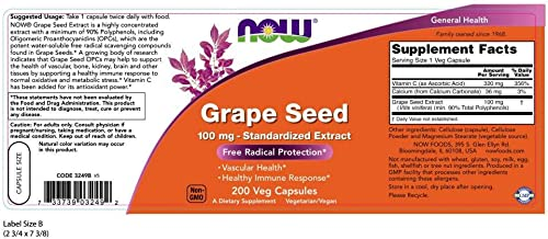 NOW Supplements, Grape Seed 100 mg – Standardized Extract, Highly Concentrated Extract with a Minimum of 90 Polyphenols, with Vitamin C, 200 Veg Capsules
