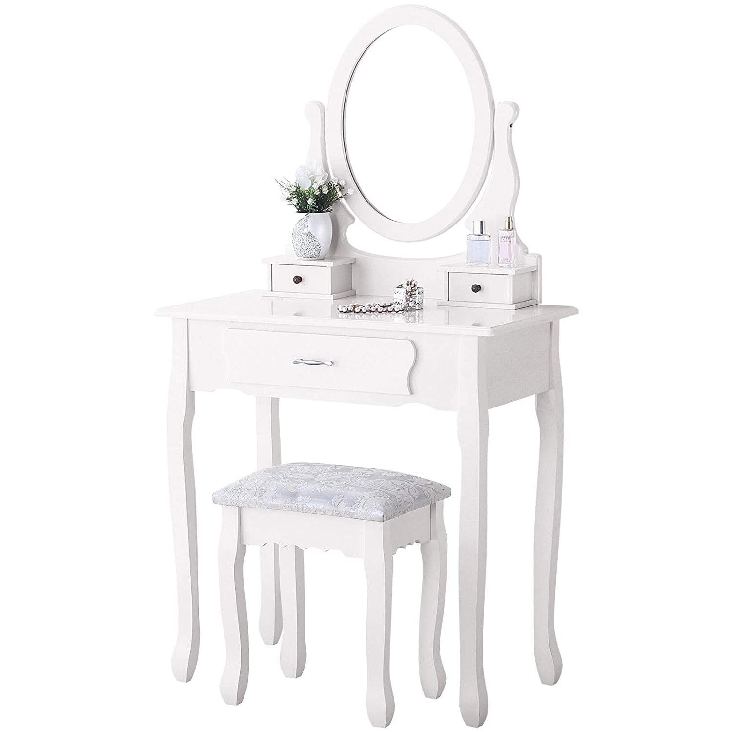 Amazon com vanity table setmake up dressing table with oval mirror 3 drawersbedroom vanity stool furniture white kitchen dining