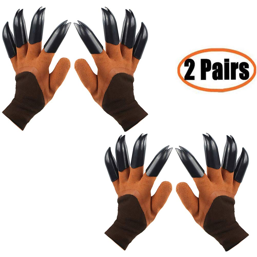 Garden Genie Gloves with Claws(2019 Upgrade), Waterproof and Breathable Garden Gloves for Digging Planting, Best Gardening Gifts for Women and Men (Brown Claw 2 Pairs)