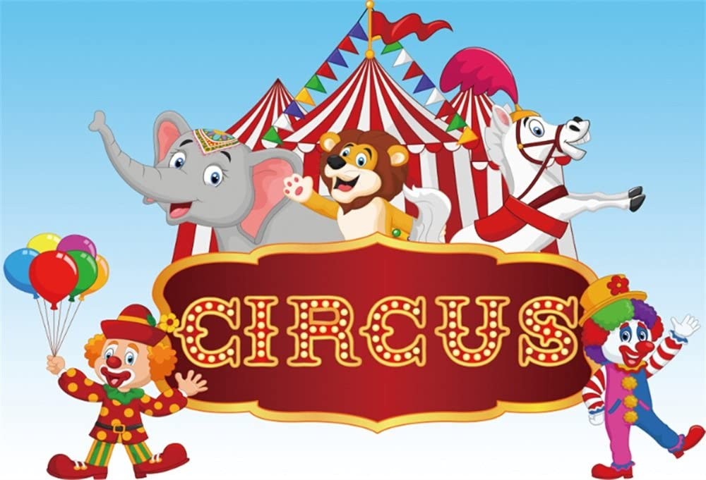 10x8ft Clown Background Carnival Photography Backdrop Photo Props Party Banner DSFU218