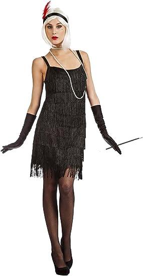 Disfraz Charlestón Flecos Negro m-l: Amazon.es: Juguetes y juegos