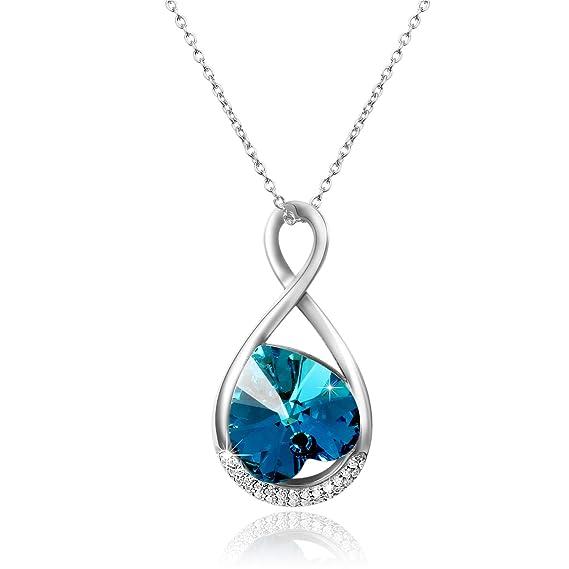 f64dffa14143 Aroncent Collar Mujer con Swarovski Cristal Azul Joyería de 925 Plata de Ley  Esterlina Colgante Forma