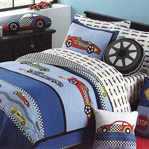 HNNSI Cotton Kids Quilt Bedspread Set Boys 2PCS Twin Size, Sports Car Boys Comforter Bedding Sets, Teens Children Quilt Sets(Sports Car)