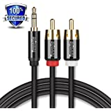 RCA Audio Cable Tuwejia Super HD 3.5mm AUX to 2RCA 6Feet Y Splitter Stereo Audio Cable Male Type OFC Conductor Dual Shielding Gold Plated High-End Metal Shell (6Feet)