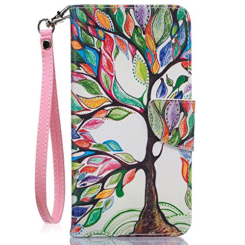 JanCalm iPhone 7 Plus Case, iPhone 8 Plus Wallet Case, [Wrist Strap][Kickstand][Card/Cash Slots] Pattern Premium PU Leather Case Flip Cover for iPhone 7/8 Plus (5.5 Inch) + Crystal Pen(Beautiful tree)