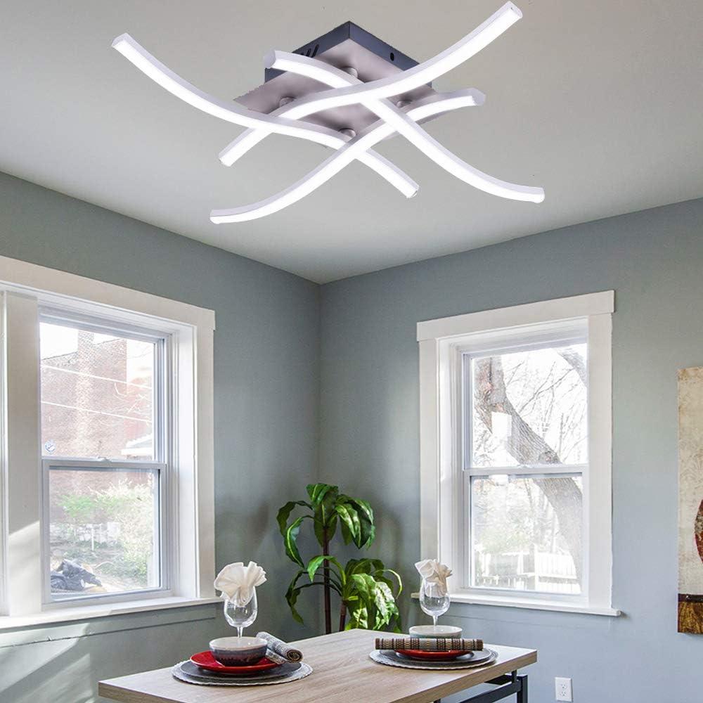 ALLOMN Luz de Techo LED, Lámpara de Araña Lámpara de Techo de Diseño Curvo Moderno con luz Ondulada de 4 Piezas para Sala de Estar Dormitorio Comedor (28W 4 Luces Blanco Frío)
