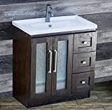 ELIMAX'S 30'' Bathroom Vanity Solid Wood Cabinet Left Designed Ceramic Top Sink Faucet B3018.L (Espresso Oak-Unique Center)