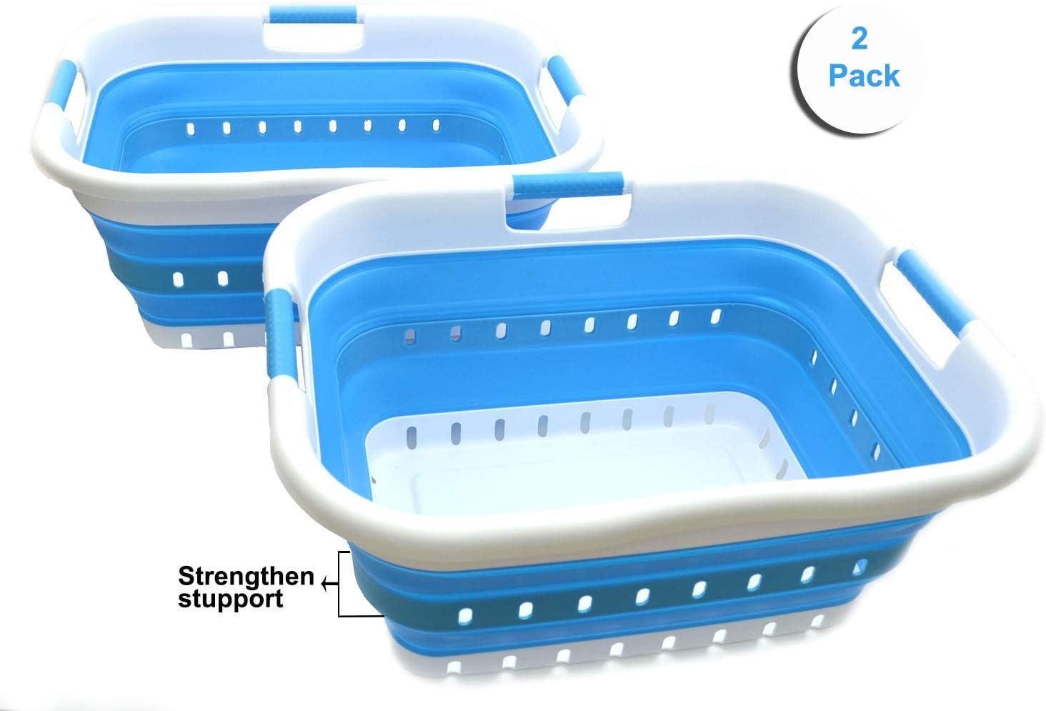 SAMMART Set of 2 Collapsible 3 Handled Plastic Laundry Basket - Foldable Pop Up Storage Container/Organizer - Portable Washing Tub - Space Saving Hamper/Basket (2, White/Sky Blue)