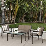Best Choice Products 4-Piece Patio Metal Conversation Furniture Set w/Loveseat, 2 Chairs, and Glass Coffee Table- Brown