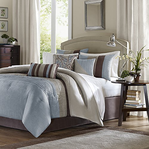 Madison Park Amherst King Size Bed Comforter Set Bed in A Bag - Blue, Taupe, Pieced Stripes – 7 Pieces Bedding Sets – Ultra Soft Microfiber Bedroom Comforters