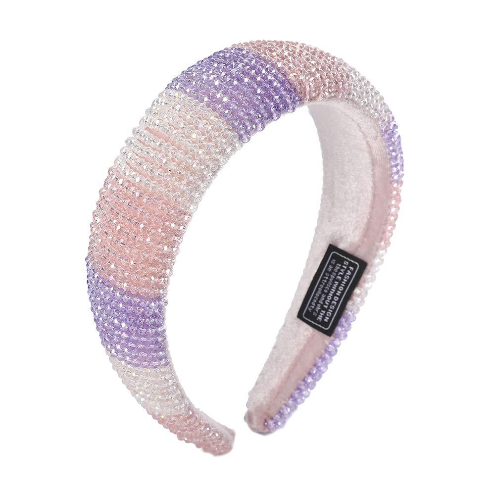 Women Pearl Crystal Hair Hoop Hairband 3 Layers Girls Headband Shiny U5G2