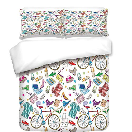 iPrint Duvet Cover Set,Watercolor Flower House Decor,Hybrid Garden Floret Composition with Heathers and Stocks Art,Pink Green,Best Bedding Gifts for Family Or ()