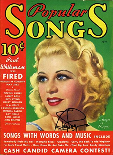 GINGER ROGERS Signed JSA COA 1935 POPULAR SONGS MAGAZINE ISSUE MINT Autograph