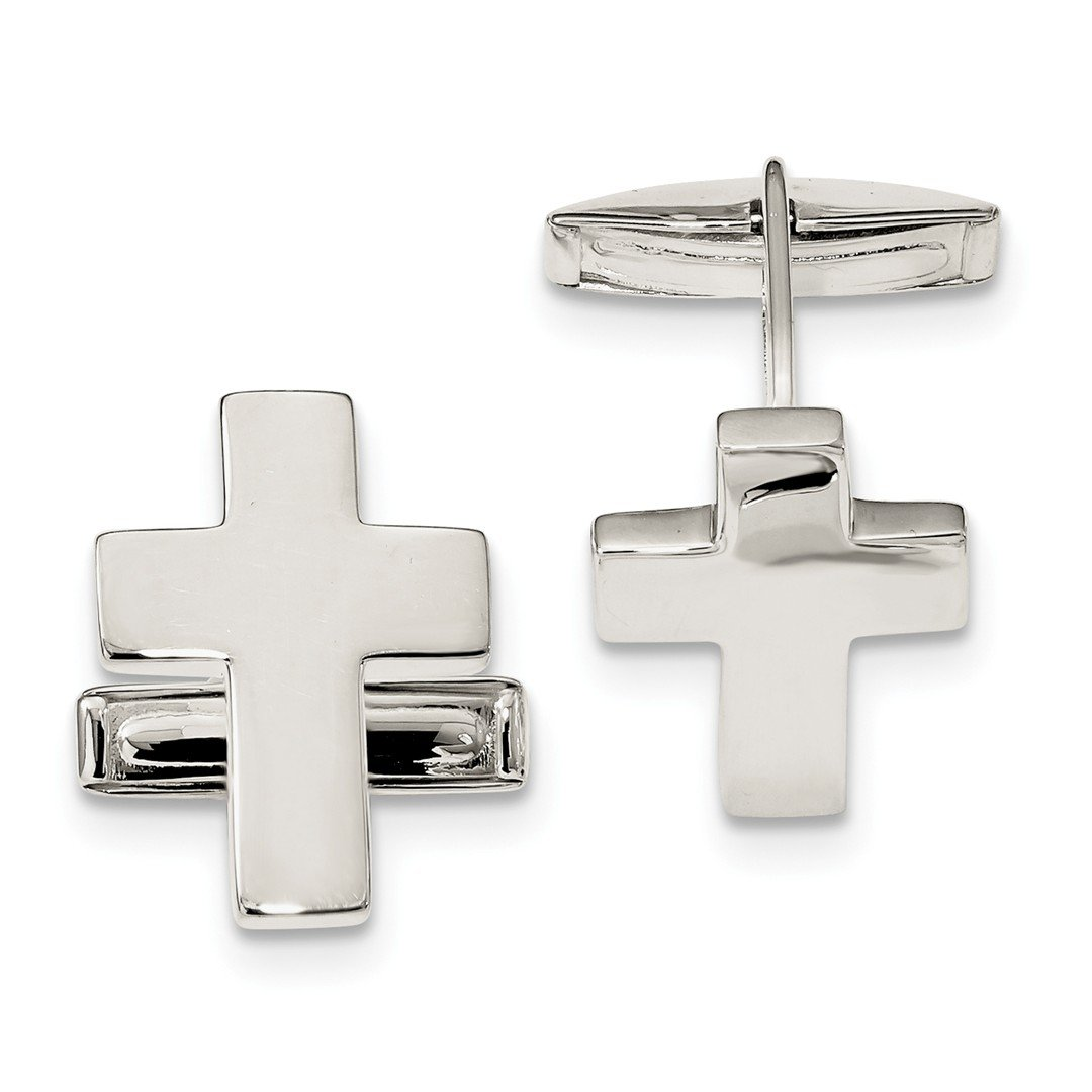 ICE CARATS 925 Sterling Silver Cross Religious Cuff Links Mens Cufflinks Link Fine Jewelry Dad Mens Gift Set