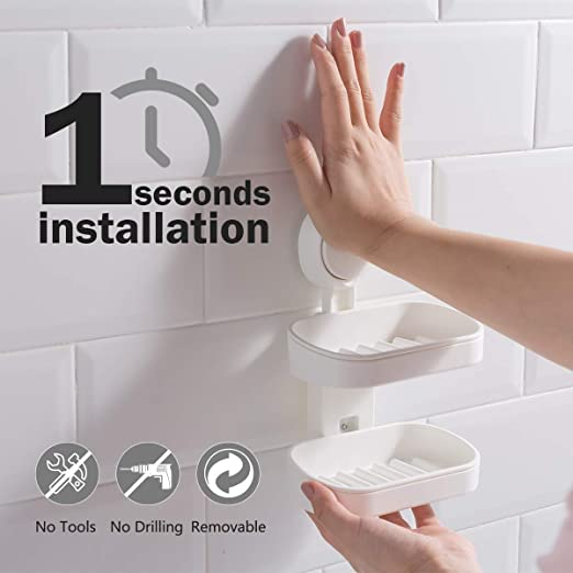LEVERLOC Soap Holder Suction Cup NO-Drilling /& Removable Suction Soap Dish