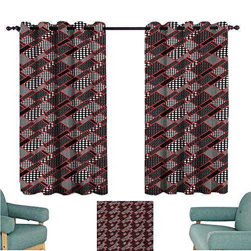 (DONEECKL Decor Curtains Red and Black Geometric Rectangle Frames Retro Patterns Polka Dots and Houndstooth Blackout Draperies for Bedroom Living Room W55 xL45 Black White Scarlet)