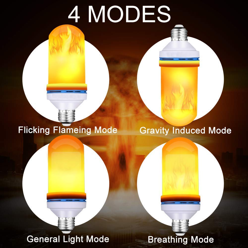 AUTFIT Led Flammen Lampe mit simuliertem Flammen Licht, 4 Modi Flamme Glühbirne, E27 Base Dekorative Leuchtmittel Flamme Birne für Halloween/Valentinstag/Zuhause/Hotel/Bar/Garten(1-Pack)