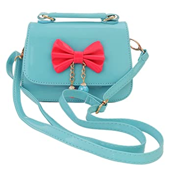Aligle Cute Little Girls Fashionable Handbag Small Preteen Girls Toy Kid Shoulder Purse Bag Mini Vintage Sweet Bowknot Adjustable Pu Casual Messenger ( Blue Green)