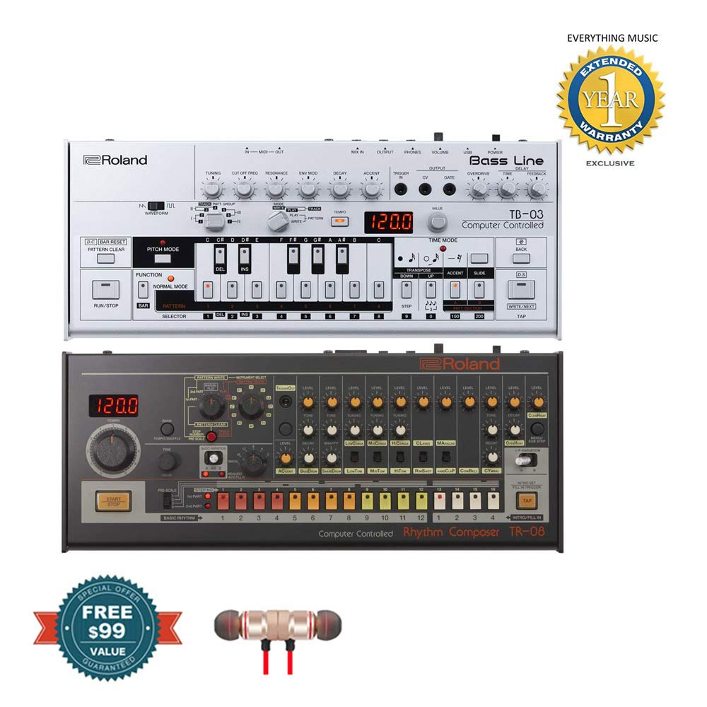 Roland TB-03 Bassline Synth with Roland TR-08 Drum Machine Includes Free Wireless Earbuds - Stereo Bluetooth In-ear and 1 Year Everything Music Extended Warranty by COR