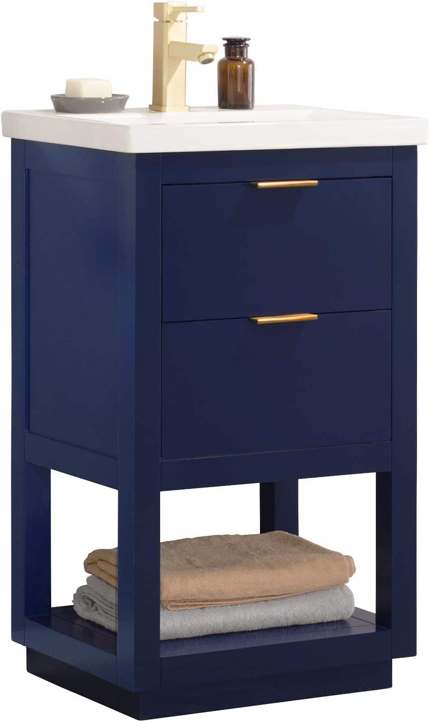 Luca Kitchen Bath Lc20gbp Sydney 20 Bathroom Vanity Set In Midnight Blue With Integrated Porcelain Top Amazon Com