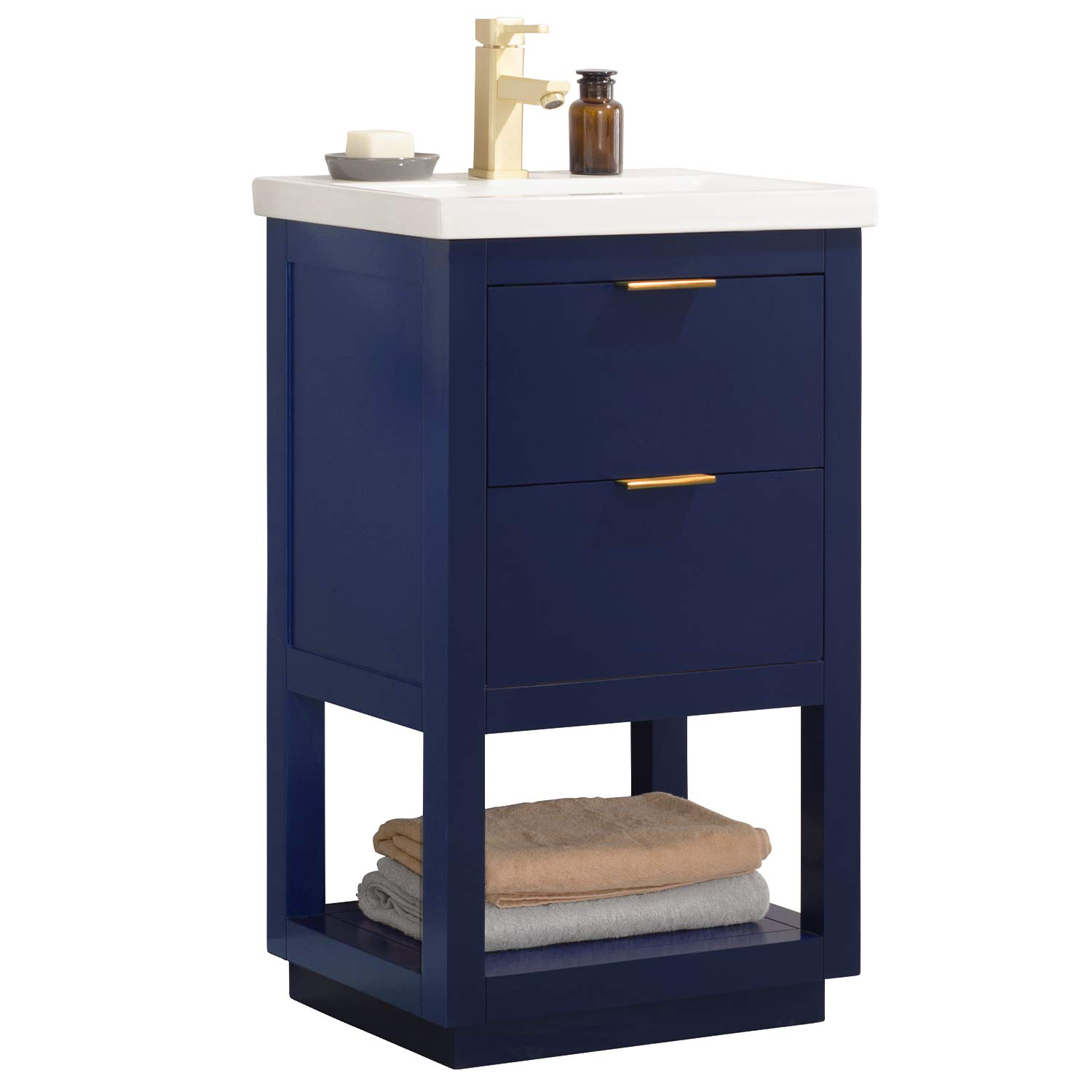 "Luca Kitchen & Bath LC20GBP Sydney 20"" Bathroom Vanity Set in Midnight Blue Made with Hardwood and Integrated Porcelain Top"