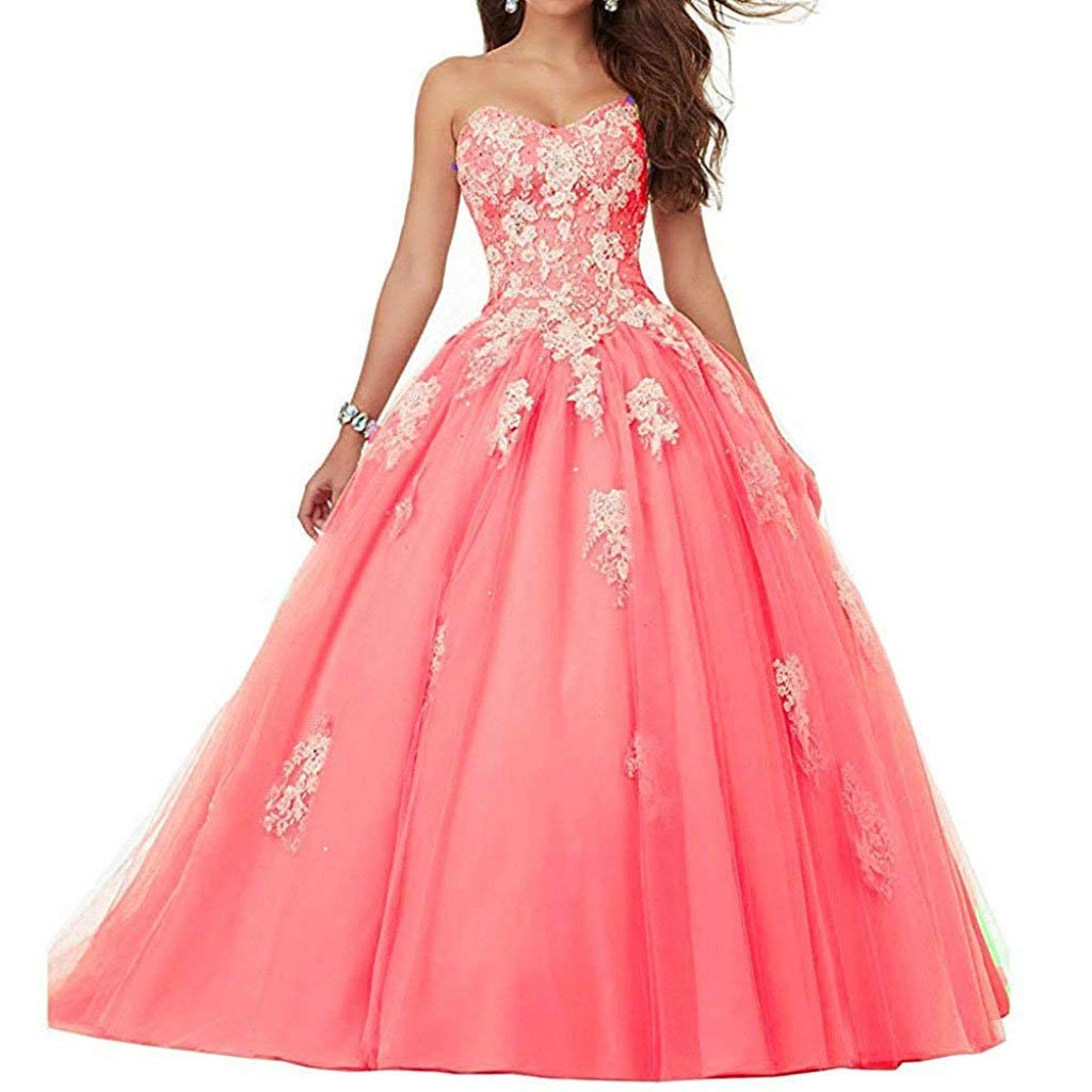 Coral Vantexi Women's Sweetheart Lace Applique Quinceanera Dress Sweet 16 Ball Gown Prom Dress