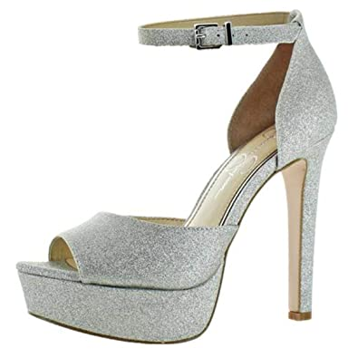 a8da8c5ed8f Jessica Simpson Womens Beeya Peep Toe Ankle Strap Pumps