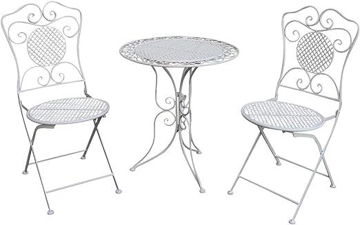 Muebles de jardín Mesa de jardín Dos sillas Blanco Hierro Estilo Antiguo: Amazon.es: Jardín