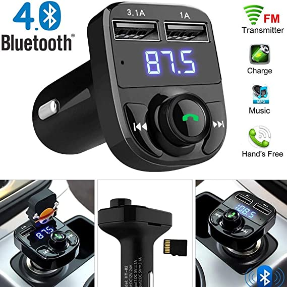 12~24V Wireless BT Handsfree Car Kit FM Transmitter MP3 Player Dual USB Charger