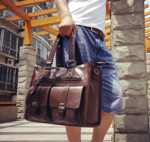 HYLM Hombre Moda De Negocios Bolso / Maletín De Los Hombres De Cuero Casual Bolso De La Computadora Del Bolso De Hombro , brown Brown