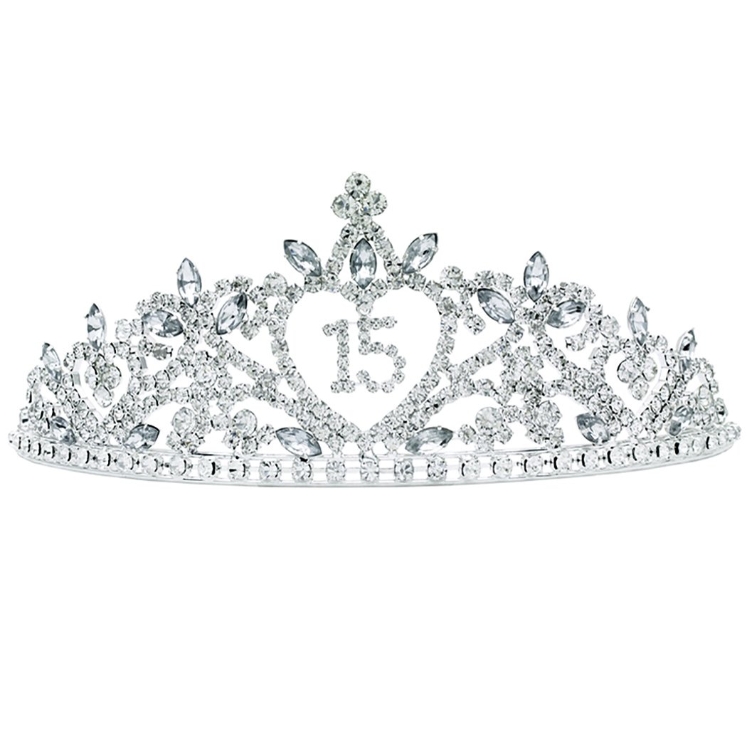 Rosemarie Collections Women's Rhinestone Birthday Tiara Crown (Quinceanera)