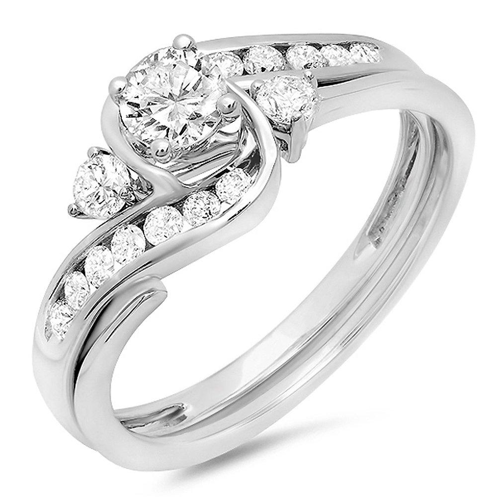 0.75 Carat (ctw) 10K White Gold Round Cut Diamond Ladies Swirl Bridal Engagement Ring With Matching Band Set 3/4 CT (Size 7.5)