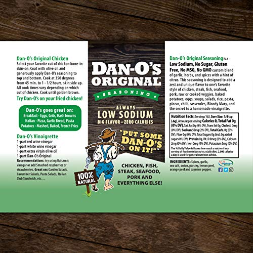 Dan-O's Original Seasoning - All Natural, Low Sodium, No Sugar, No MSG (3.5 ounces)