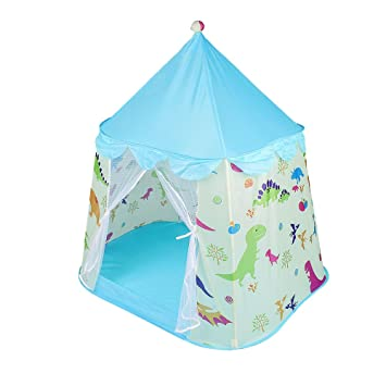 the latest a39ff 8d49c Sonyabecca Kids Play Castle Tent Toddler Children Blue Play Tent Dinosaur  Pop-up Girls Boys Tent with A Carrying Bag for Indoor Outdoor Use