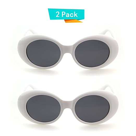 bcb8dd1a23 Bold Retro Oval Mod Thick Frame Sunglasses Clout Goggles with Round Lens (2  packs White