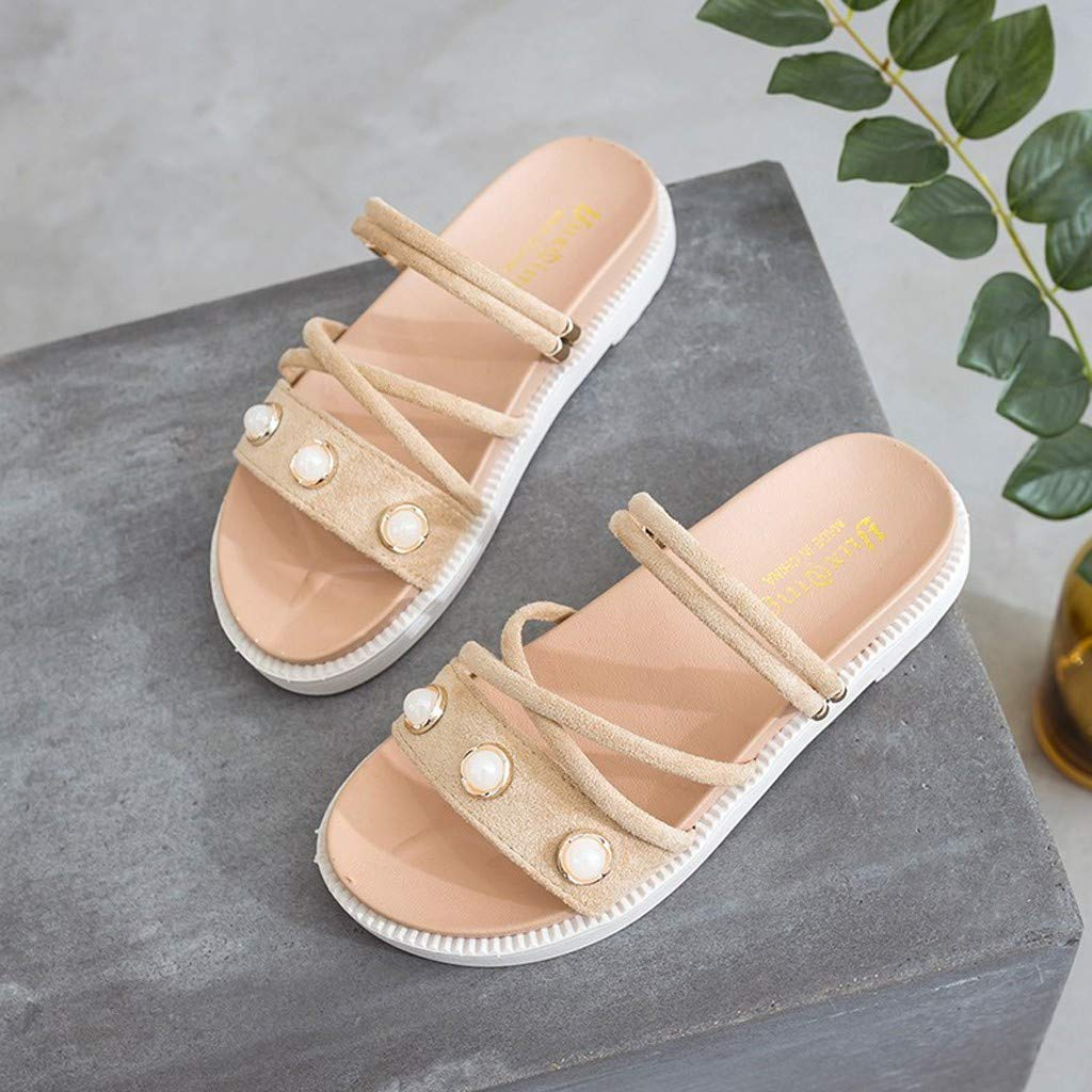 ZOMUSAR New! 2019 Women's Summer Casual Fashion Flat Bottom Roman Round Head Non-Slip Slippers Beige by ZOMUSAR (Image #5)