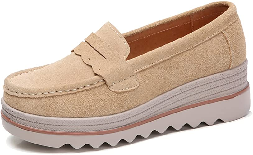 HKR Womens Slip On Platform Shoes Casual Suede Loafers Comfortable Wedge Sneakers