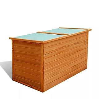 Festnight Caja de Almacenamiento para Jardín - Color de Marrón Material de Madera, 126x72x72 cm