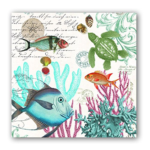 Michel Design Works 20-Count 3-Ply Paper Cocktail Napkins, Sea Life