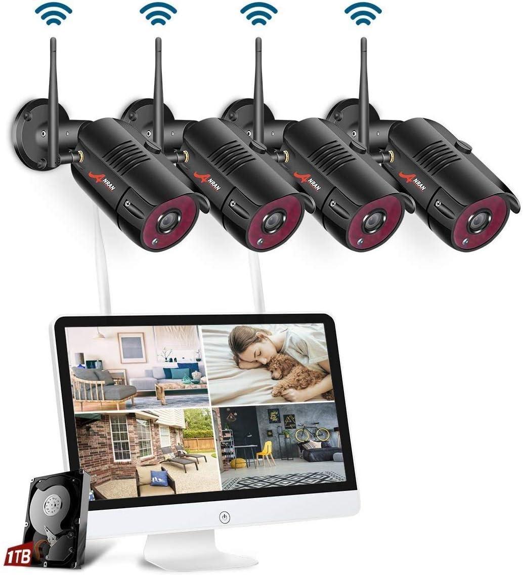 【15.6 Monitor】 ANRAN 1080P 4CH Kit Cámaras Vigilancia con Monitor de 15,6 Pulgadas 4 Cámaras NVR Inalambricas CCTV 4CH Sistema de Vigilancia WiFi con 1TB HDD Instalación Facíl Aplicación Gratuita