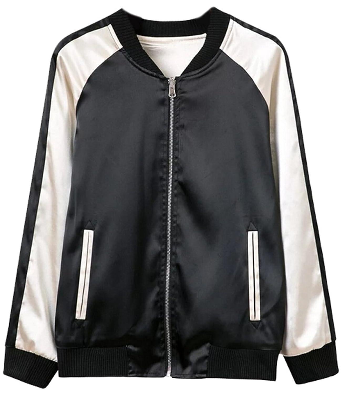 Genhao Womens Active Spliced Zipper-up Outer Bomber Jackets