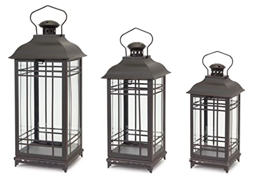 Christmas Tablescape Décor - Decorative Black Mission-Style Metal and Glass Pillar Candle Lanterns Set of 3 by Melrose