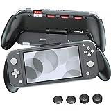 任天堂 Switch Lite 抓握保护套,OIVO 舒适符合人体工程学的不对称手柄,内置可调节支架,带 4 个游戏插槽,任天堂 Switch Lite (Lite Rider) - 包括拇指帽