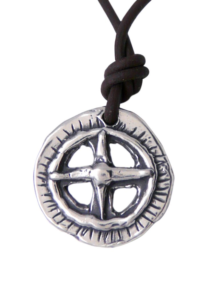 Modern Artisans Find Your True North: Men's/Unisex Compass Rose Symbol on Leather Necklace, American Made, 20''