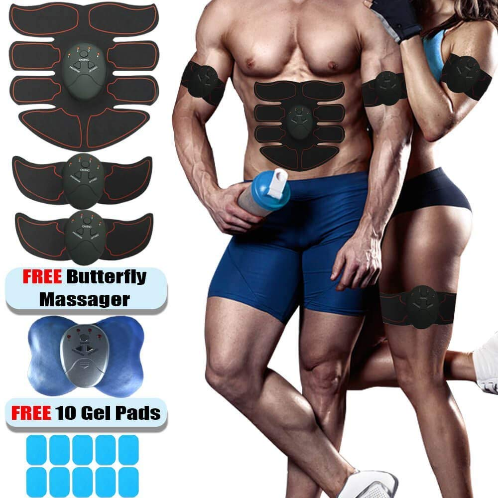 Lux Fitness Muscle Toner and Abs Stimulator EMS Abdominal Trainer - Electronic Wireless Toning Belt Ultimate Gym Training, Men Women, New version 2018 + FREE Butterfly Massager + 10 Extra Gel Pads