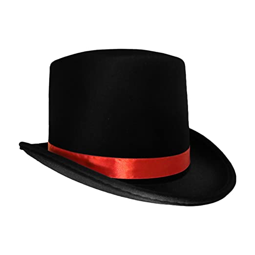 cc439d69 Amazon.com: Black Top Hat with Red Band Caroler Snowman Ringmaster Mad  Hatter Baron Costume: Clothing